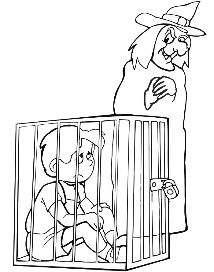 Hansel and Gretel coloring page of Hansel in a cage.