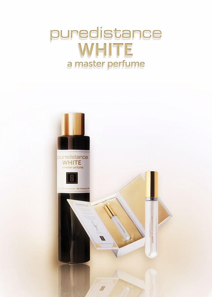 The main idea behind the creation of Puredistance WHITE Perfume has been to create a perfume so beautiful and positive that it gives the wearer an instant flow of happiness. We asked Master Perfumer Antoine Lie (who also created Puredistance BLACK for us) to create a white and golden dream; an intimate escape from harsh reality :)