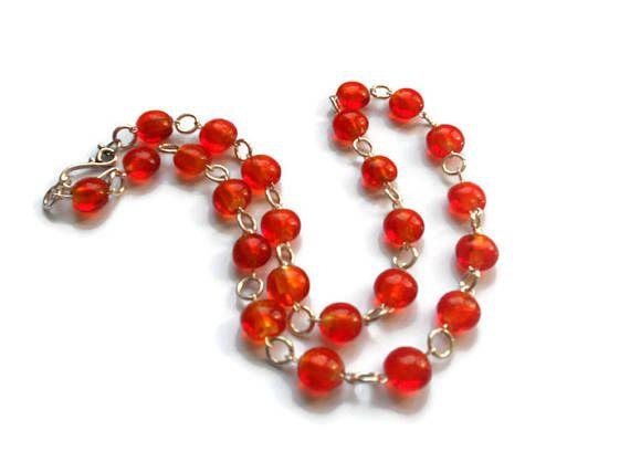 Orange red beaded necklace Summer  Glass handmade bead