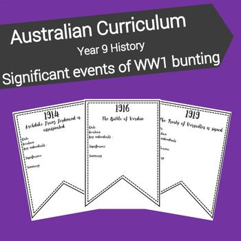 This resource is designed to familiarise students with key events from World War One and their significance. Included in this resource: * 1 x A4 blank bunting template * 23 x A4 bunting templates featuring the names and years of significant events leading up to and during World War