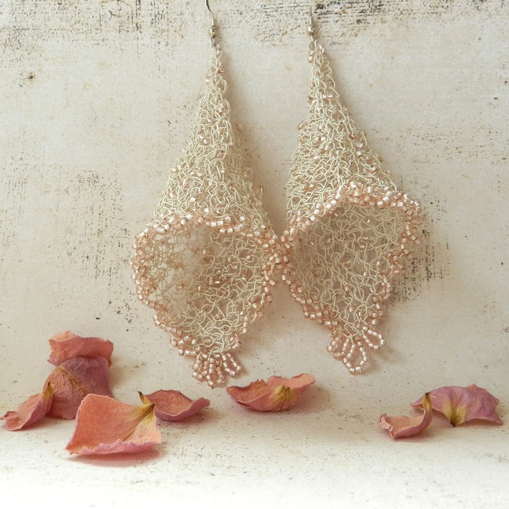 Wire Crochet Bridal Earrings Fairy Bells Lace Blush Pink Cone Shape Renaissance Wedding Jewelry. $46.00, via Etsy.