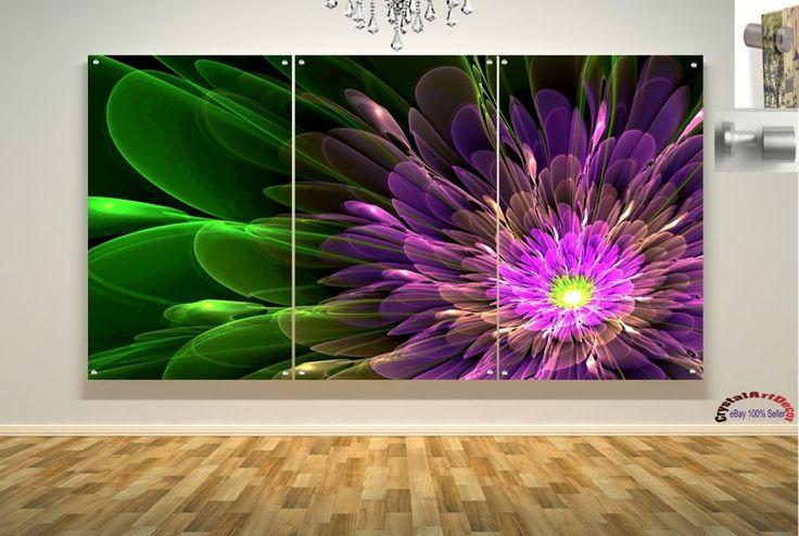Wall Art Decor Floating Acrylic Glass Plexiglass Modern Art Abstract Flower Pink #Handmade #Modern
