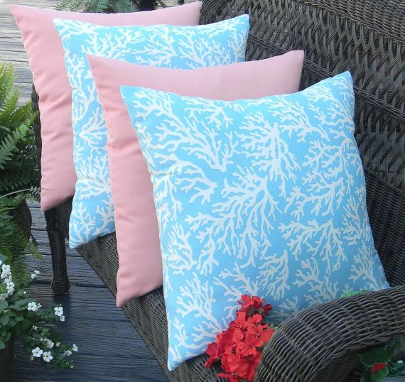 Solid Coral Throw Pillows : SET OF 4 - 17
