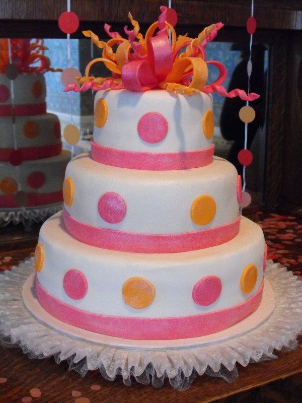 pink black and white bridal shower invitations%0A Pink   Orange   Tiered Round Cake Bridal Shower Cake I made this for my  sisters Bridal Shower  She wanted a   tiered cake