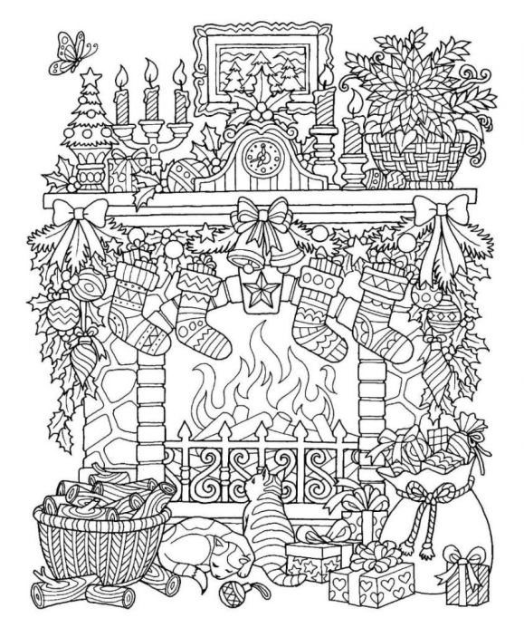 Indoor Winter Scene Coloring Page for Adults doodles