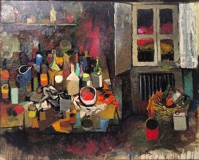 146. Oggetti sul tavolo e finestra di sera - 1961