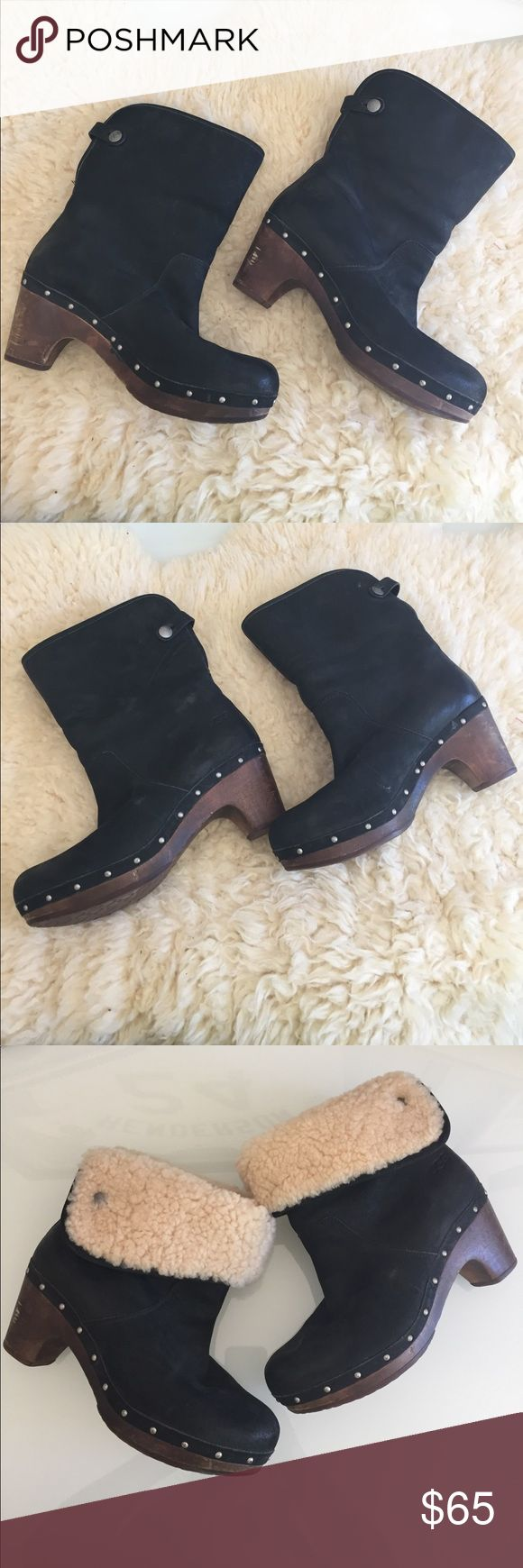 Ugg Lynnea Boot Clog with Fur Awesome pre worn condition can be styled up or down. Versatile booties! Some scuffing on heel, shown. UGG Shoes Ankle Boots & Booties