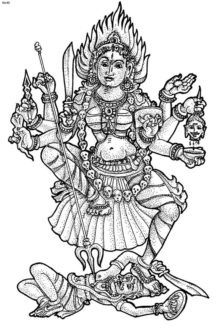 kali hindu goddesses coloring page
