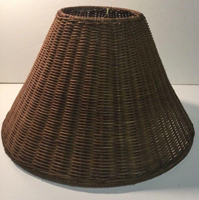 Rattan Wicker Lamp Light Shade Brown Tropical Beach Style Decor  | eBay