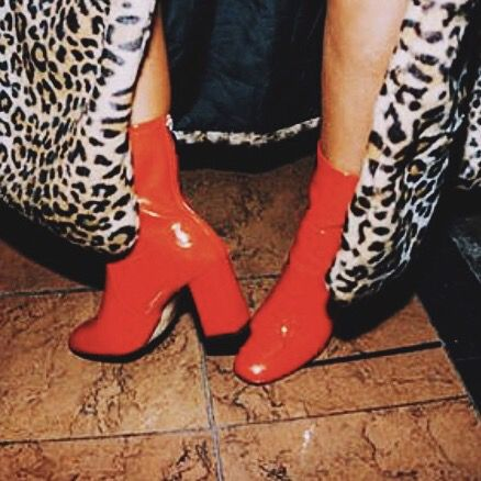 Red Patent Leather Boots + Leopard Print Fur Coat