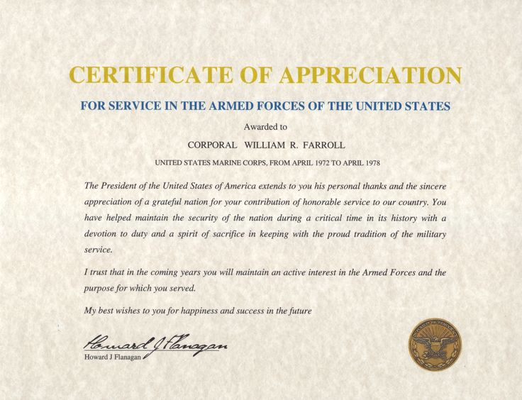 Army Certificate Of Appreciation Example  Army Certificate Of Appreciation