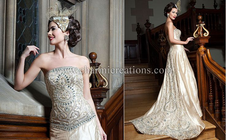 Fusion gown lounge charmicreations indian traditional for Indian fusion wedding dress