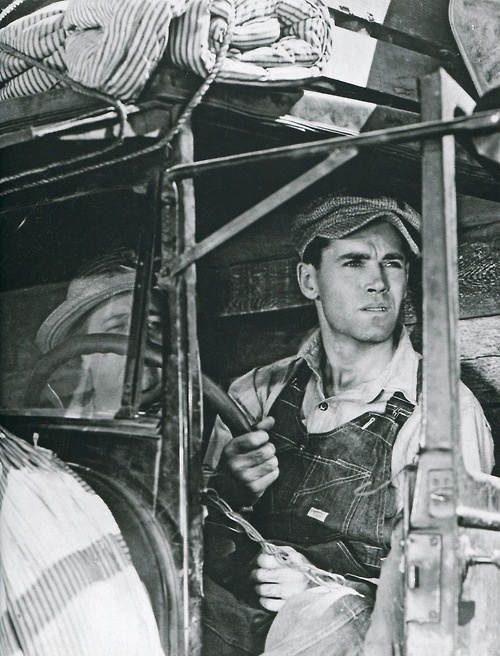Henry Fonda in Steinbeck's classic THE GRAPES OF WRATH ~ about the 1930s dust bowl & Great Depression.  The masses of impoverished farmers whose lives blew away, so they migrated West to find work & hope.  Powerful and sad