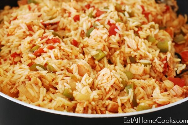 Quick & Easy Skillet Chicken Jambalaya - 15 minute meal - Eat at Home