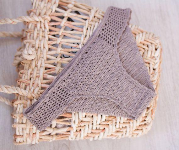 Crochet Bikini Bottom, Beige Crochet Bikini Set, Crochet Bottoms, Bikini Panties, Crochet Swimsuit, Swimwear, Mix and Match Bikini,