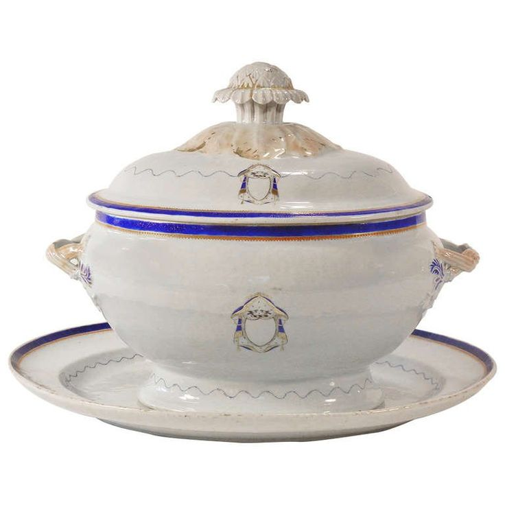 Love Birds Armorial Tureen and Underliner, Chinese Export Jiaqing Emperor | From a unique collection of antique and modern ceramics at https://www.1stdibs.com/furniture/asian-art-furniture/ceramics/