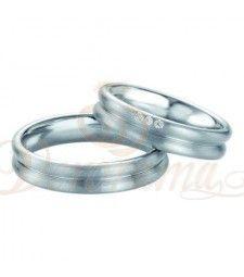 Βέρες γάμου από πλατίνα με διαμάντι Breuning 9066-9067