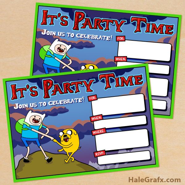 Click here to download FREE Printable Adventure Time Birthday Invitations!