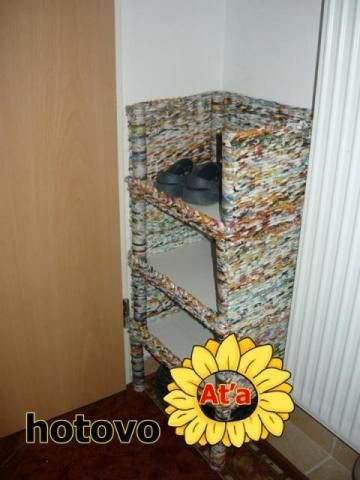 Shoes cabinet from paper tubes. Not in English but with photos explanation.