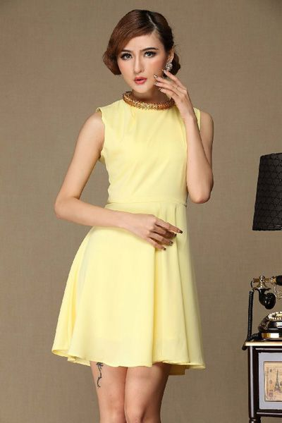 Sleeveless Beads Design Chiffon Dress [DLN0142] - PersunMall.com