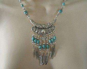 Collar de turquesa, joyería suroeste suroeste Joyería Turquesa joyas joyería indígena tema país occidental vaquera de boda