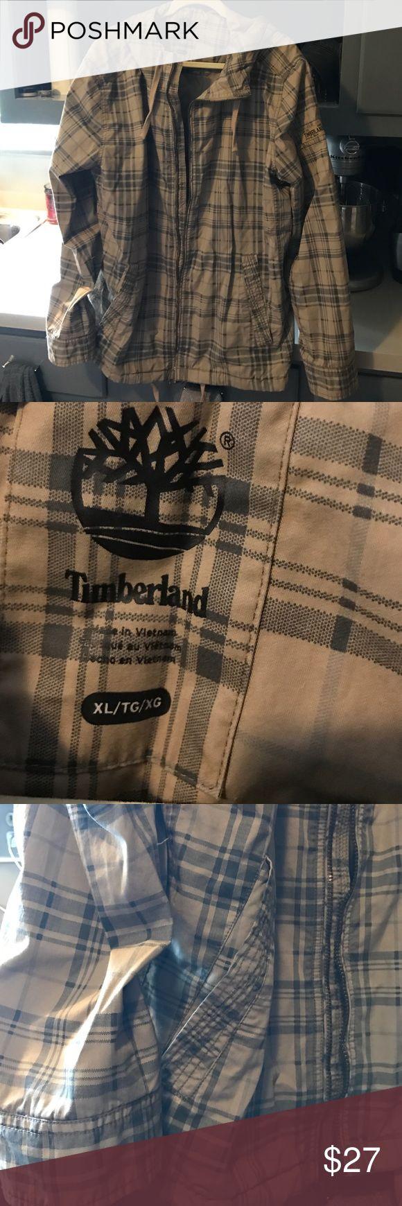 Timberland XL plaid Jacket. NEW, Neverworn Timberland XL jacket.  Mens Xl, plaid, hooded, lightweight jacket.  Brand new, never worn.  Original owner, smoke free home Timberland Jackets & Coats