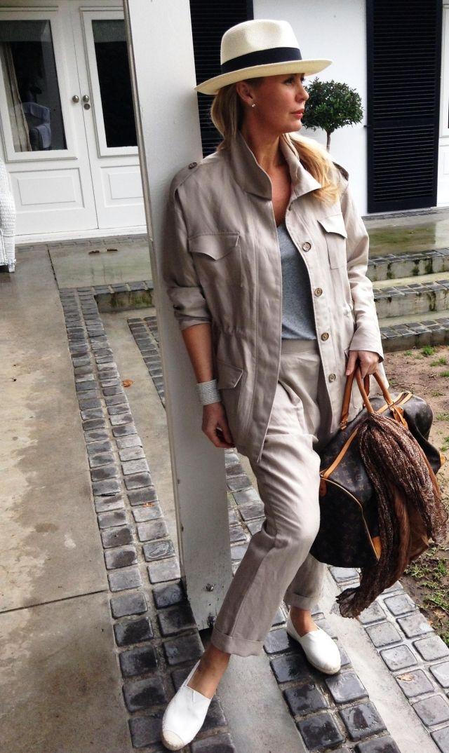 Cream Panama Hat R400.00, Linen Safari Jacket R1300.00, Core V Neck Top R400.00, Linen Bib Pant R700.00, Yachters R380.00