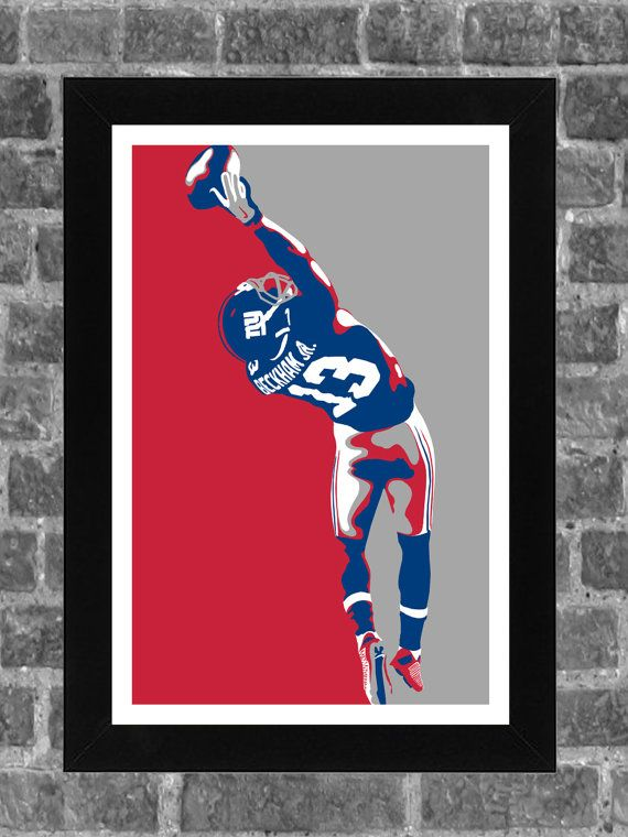 New York Giants Odell Beckham Jr Portrait Sports Print Art 11x17                                                                                                                                                                                 More