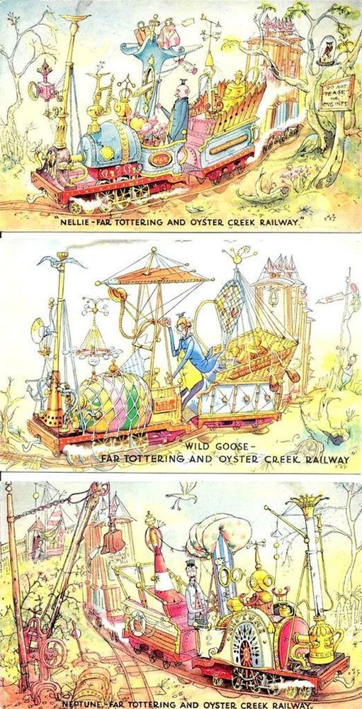 Crazy railways from Emett... Festival of Britain 1951 Rowland Emett Punch Cartoonist 3 Comic Railways Vintage Postcards 'Far Tottering & Oyster Creek Railway' - Ebay £9.95
