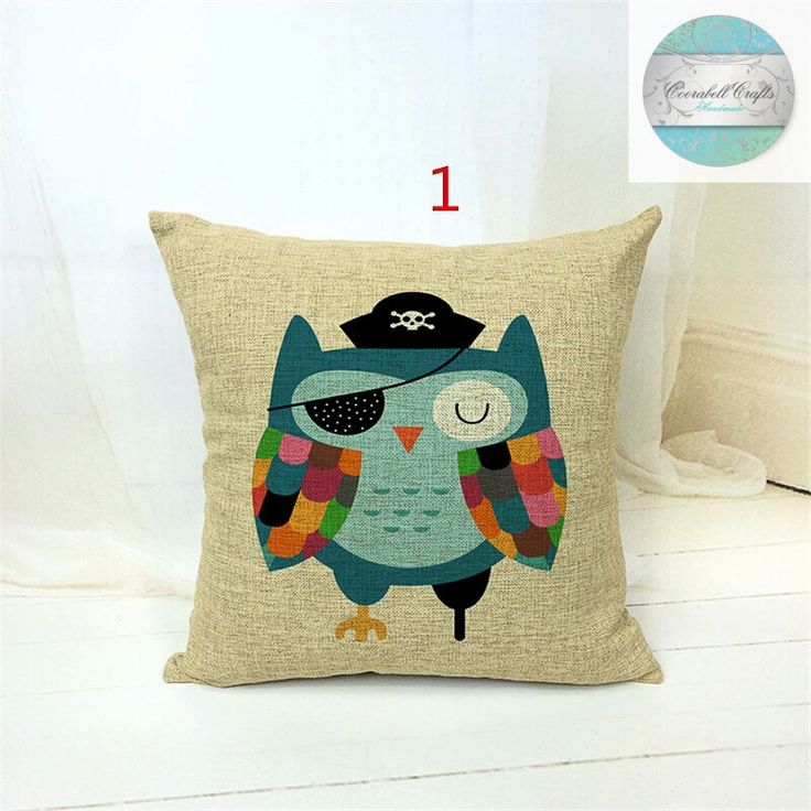 Cartoon Pirate Owl Home Decor Decorative Pillows Home Living 16 X16 Childrens Cushion