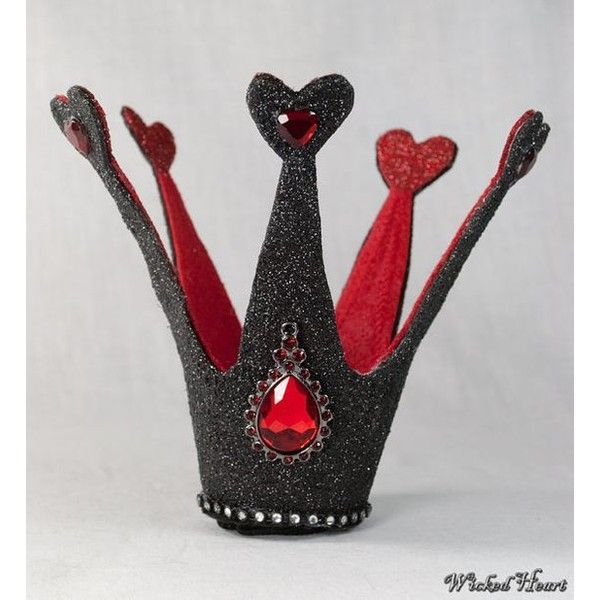 Queen of Hearts Crown Burlesque Mini Crown Fascinator ❤ liked on Polyvore featuring accessories, hair accessories, fascinator hat, crown hair accessories and hair fascinators