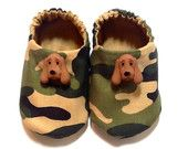 Camouflage Baby Boy Shoes with Hound Dogs, Baby Booties, Baby Gift