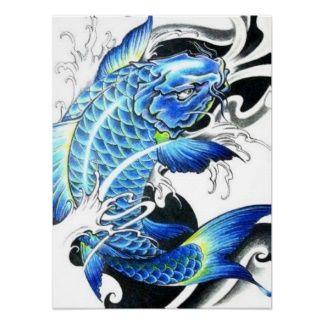 Cool japanese blue koi fish poster koi fish paintings for Blue and white koi fish