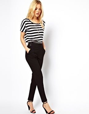 asos high wasted pants, vero moda top, & asos hollywood heeled sandal