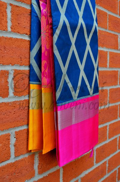 Blue Kuppadam Saree with Ikat Diamond Pattern and Pink/Yellow Borders - Aliveni…