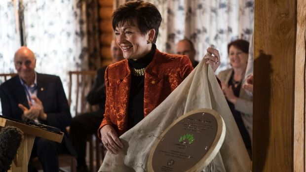 Governor General Dame Patsy Reddy at the unveiling of the Mt Terako covenant near the Kaikoura ranges.