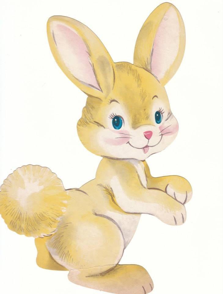 Vintage Cardboard Easter Bunny Image Found At The Estate