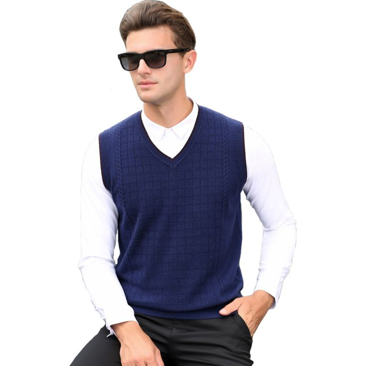 2016 Men's Clothing Autumn and Winter Male Casual V-neck Plaid Business Wool Woven Blue Gray Vest Sweater Waistcoat Pullovers //Price: $33.06 & FREE Shipping //     #hashtag1