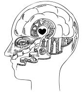 Man profile with brain and heart