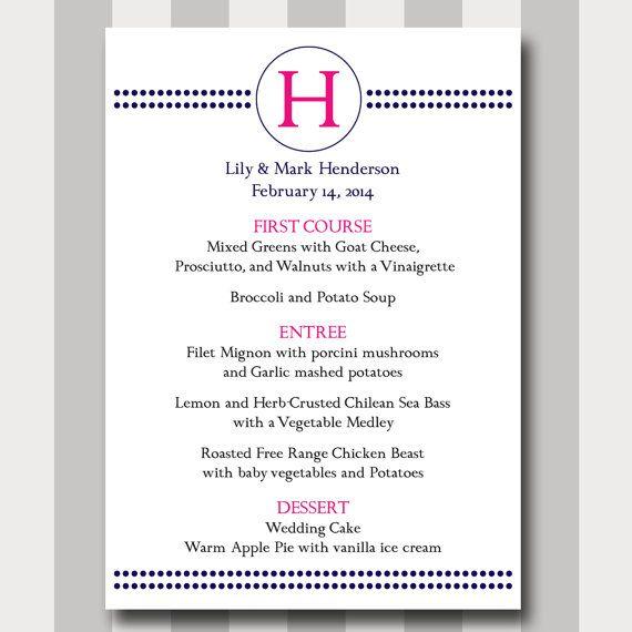 Circle Menu Card DIY Printable Template Modern Traditional Simple Wedding Menu Card