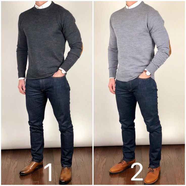 """Chris Mehan Men's Style on Instagram: """"Which would you prefer to wear to a family holiday gathering❓ 1 or 2❓🤔🤔 The dark gray sweater with dress shoes or a light gray sweater with…"""" - WSC"""