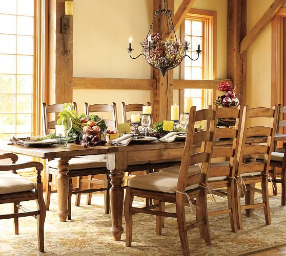 pottery barn sumner table wynn chair set rustic mahogany stain