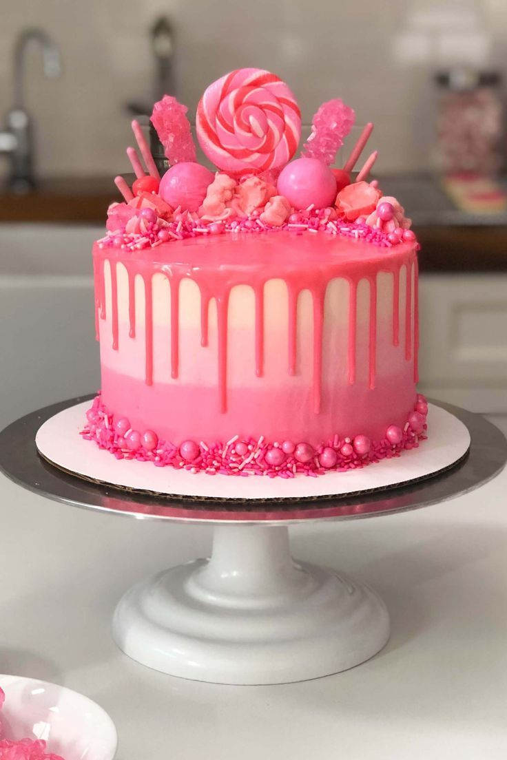 Admirable Pink Drip Cake Recipe Pink Birthday Cakes Drip Cake Recipes Funny Birthday Cards Online Overcheapnameinfo