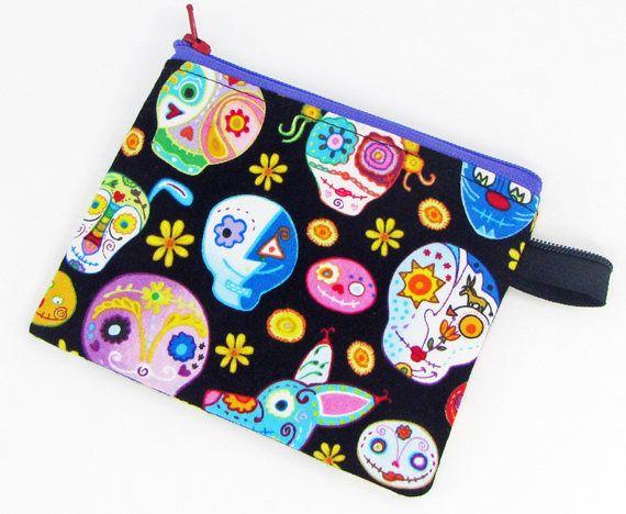 Sugar skulls, credit card case, change purse, business card holder, coin wallet, womens change purse, credit card wallet, minimalist wallet by fabricfundesigns on Etsy