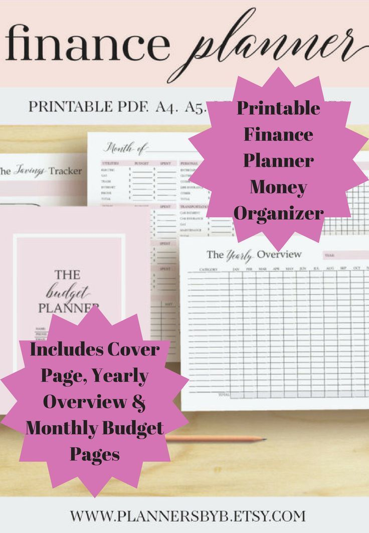 This Printable Finance Planner Money Organizer includes a Cover Page, Yearly Overview, Monthly Budget, Expense Tracker, Bill Tracker, Bill Payments, Calendar, Debt Tracker and more #ad #budget #finances #money #planner #printable