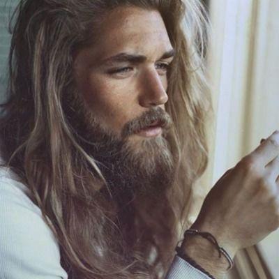 long hair beard men look