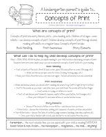 Kinder Corner: printable kindergarten parent handouts [concepts of print]