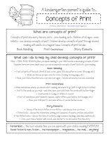 Kinder Corner: printable kindergarten parent handouts [concepts of print]