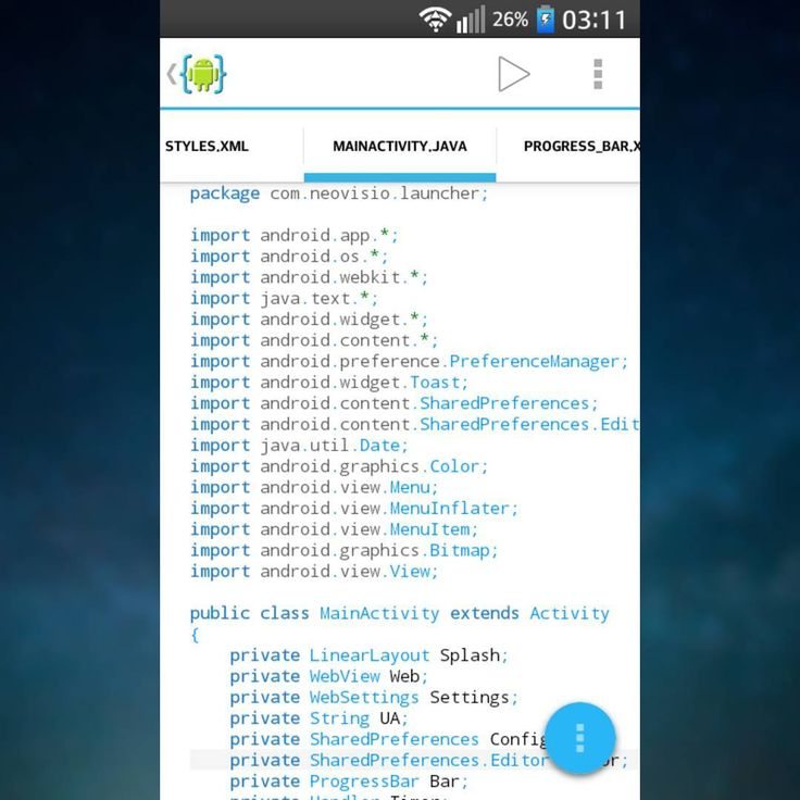 "First real Android application - except that so ""inovative"" Hello World app  And totally written from scratch and... on my mobile! App writting for Android on Android is so cool!  #neovisio #launcher #android #ide #java #javascript #html #css #internet #web #webview #development #developer #coding #code #coder #programming #programmer"