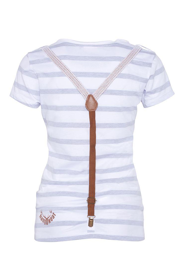 Trachten Shirt weiß-grau Verena 000347